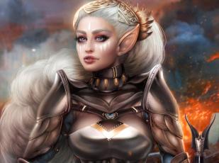 обоя фэнтези, эльфы, белые, волосы, эльф, красавица, воин, adalia, девушка, ушки