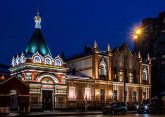 обоя покровский монастырь, города, москва , россия, покровский, монастырь, ночь, москва