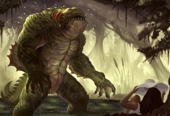 обоя фэнтези, существа, панама, девушка, лес, ящер, монстр