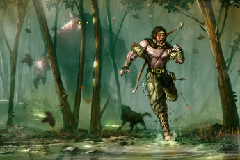 обоя фэнтези, существа, воин, лучник, деревья, лес, бег, монстр, испуг