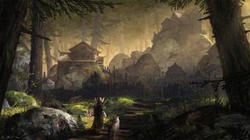 обоя фэнтези, иные миры,  иные времена, иной, собака, воин, лучнек, мир, лес