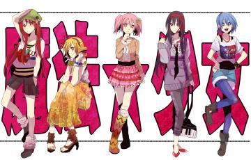 обоя аниме, mahou shoujo madoka magika, взгляд, фон, девушки