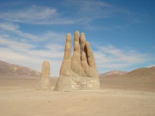 обоя города, - памятники,  скульптуры,  арт-объекты, гигантская, рука, мано-де-десьерто, в, пустыне, атакама, Чили