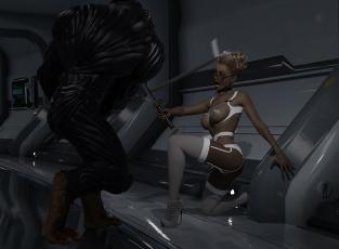 обоя 3д графика, фантазия , fantasy, существо, взгляд, девушка, оружие, фон