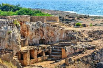 обоя города, - исторические,  архитектурные памятники, кипр, пафос, старинные, царские, гробницы