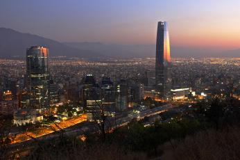 обоя города, сантьяго , Чили, вечерний, город, сантьяго