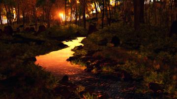 обоя 3д графика, природа , nature, лес, закат