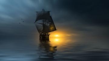 обоя корабли, парусники, птицы, корабль, photographer, паруса, океан, christian, wig, закат