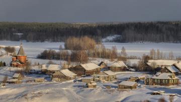обоя города, - пейзажи, вечер, гармашов, сергей, карелия, зима, деревня