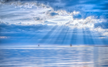 обоя корабли, Яхты, озеро, лучи, яхты, облака
