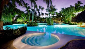 Картинка интерьер бассейны +открытые+площадки тропики пальмы