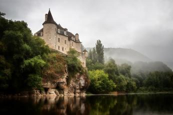 обоя города, - дворцы,  замки,  крепости, замок, река