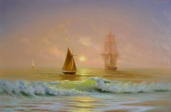 обоя корабли, рисованные, море, волны, небо, солнце, лодки, яхты, парусники, чайки