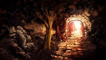 Картинка рисованное живопись ночь свет грот деревья пещера
