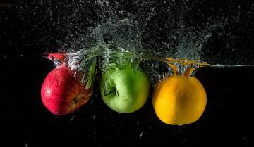 обоя еда, Яблоки, брызги, жидкость, фрукты, апельсин