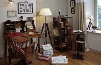 Картинка интерьер кабинет библиотека офис стол книги этажерка фотографии
