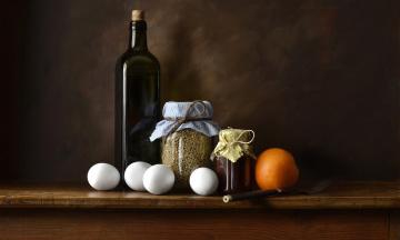 Картинка еда натюрморт банка бутылка чечевица вилка апельсин яйца