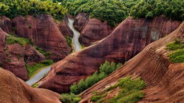 Картинка природа дороги китай холмы деревья