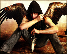 обоя фэнтези, ангелы, нож, крылья, мужчина, фон, взгляд