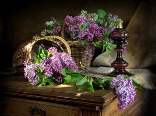 обоя цветы, сирень, корзинки, лампа, ветки