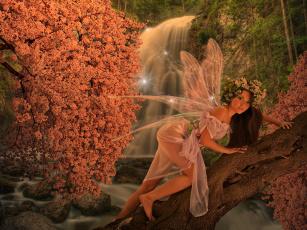 обоя фэнтези, феи, фон, крылья, взгляд, девушка