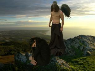 обоя фэнтези, фотоарт, девушка, мужчина, фон, крылья, море