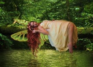обоя фэнтези, фотоарт, девушка, фон, взгляд, крылья, полет