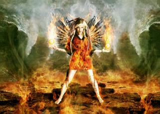 обоя фэнтези, фотоарт, фон, взгляд, девушка, крылья, огонь