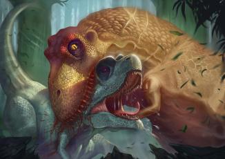 обоя рисованное, животные,  доисторические, добыча, динозавры, тираннозавр