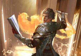 обоя фэнтези, маги,  волшебники, феникс, свиток, мужчина, книга, маг, магия, огонь