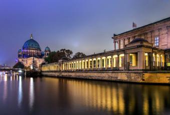 обоя города, берлин , германия, вечер, река, коллонада