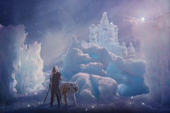 обоя фэнтези, фотоарт, девушка, фон, кольчуга, меч, тигр, снег, лёд