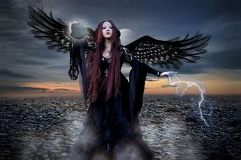 обоя фэнтези, фотоарт, девушка, фон, взгляд, крылья, молния