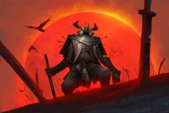 обоя фэнтези, нежить, солнце, меч, птицы, samurai, доспех, воин, голова