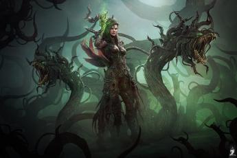 обоя фэнтези, существа, женщина, фантазия, тьма, чудовище, маг, монстр