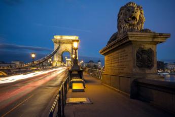 обоя города, будапешт , венгрия, фонари, мост, вечер, лев