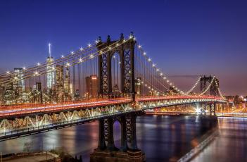 обоя города, - мосты, сша, огни, нью, йорк, город, ночь, мост, свет