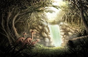 обоя рисованное, животные,  доисторические, динозавры, водопад, джунгли, лес