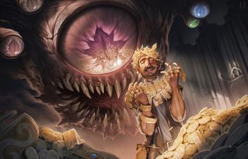 обоя фэнтези, существа, золото, глаз, чудовище, монеты, арт, радость, человек, сокровище