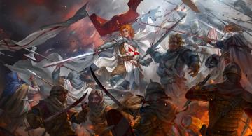 обоя фэнтези, люди, мечи, кровь, битва, crusaders, art, воины, saracens