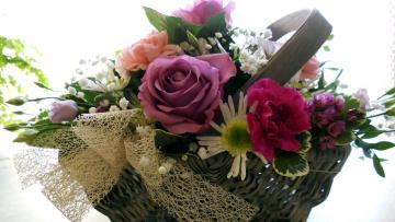 Картинка цветы букеты +композиции эустома гвоздики розы