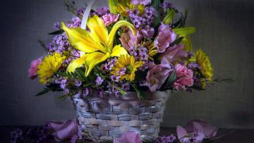 обоя цветы, букеты,  композиции, хризатемы, лилии, гвоздика, альстромерия