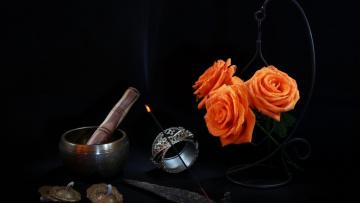 обоя цветы, розы, трио