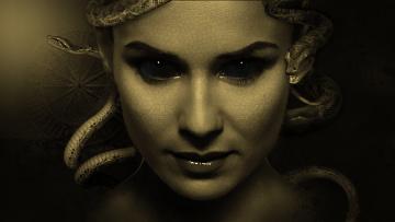 обоя фэнтези, фотоарт, девушка, фон, взгляд, змея, портрет