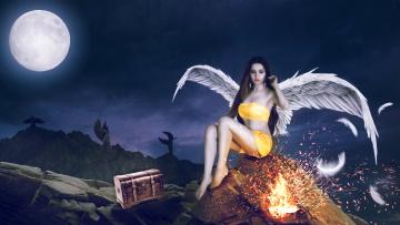 обоя фэнтези, фотоарт, девушка, крылья, фон, сундук, луна