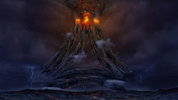 обоя фэнтези, пейзажи, лава, огонь, вулкан, небо, тучи
