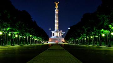 обоя города, берлин , германия, вечер, монумент, фонари, деревья, проспект