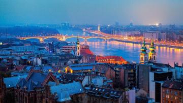 обоя города, будапешт , венгрия, крыши, панорама, вечер, мост, река