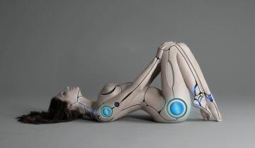 обоя фэнтези, роботы,  киборги,  механизмы, девушка, фон