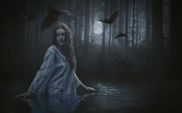 обоя фэнтези, фотоарт, девушка, фогн, вода, мышь, ночь, луна